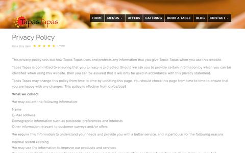 Screenshot of Privacy Page tapastapas.co.uk - Privacy Policy - Tapas Tapas - captured Oct. 19, 2018
