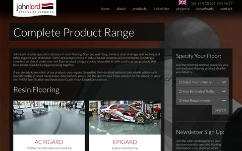 Screenshot of Products Page john-lord.com - John Lord Resin Flooring, Tiling & Stainless Steel Products - captured Nov. 3, 2014