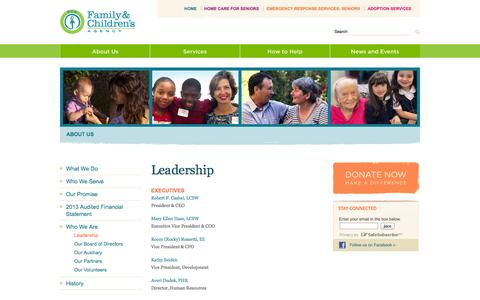 Screenshot of Team Page familyandchildrensagency.org - Family & Children's Agency: Realizing Life's Possibilities - captured Oct. 5, 2014