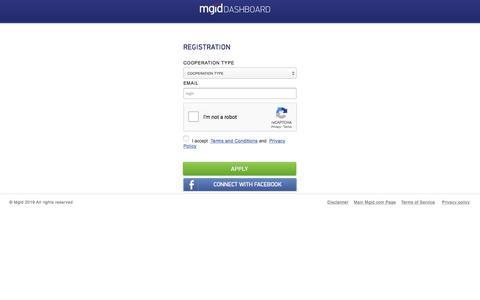 Screenshot of Signup Page mgid.com - Dashboard - captured July 10, 2019