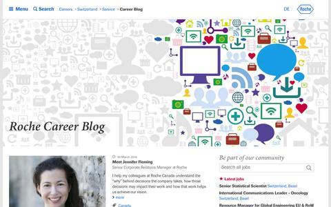 Screenshot of Blog roche.com - Roche - Career Blog - captured April 5, 2016