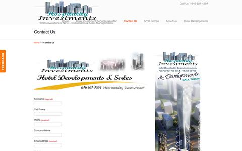 Screenshot of Contact Page hospitality-investments.com - Buy - Sale a NYC Hotel Investment > Hospitality Investments, Developments in NYC - captured Oct. 3, 2014