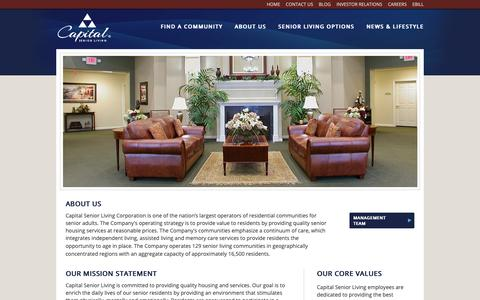 Screenshot of About Page capitalsenior.com - About Capital Senior Living | Senior Care | Senior Living Communities - captured Sept. 26, 2018