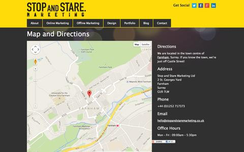 Screenshot of Maps & Directions Page stopandstaremarketing.co.uk - Directions to Stop and Stare Marketing | Stop and Stare Marketing | Farnham, Surrey - captured Oct. 7, 2014