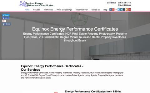 Screenshot of Home Page energyperformancecertificates.biz - Epc from £40 | Chelmsford | Equinox Energy Performance Certificates - captured Aug. 14, 2017