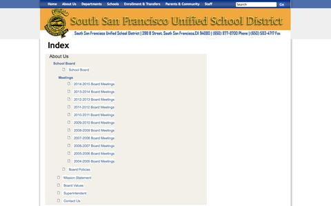 Screenshot of About Page ssfusd.org - South San Francisco Unified School District: Index - captured Oct. 28, 2014