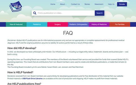 Screenshot of FAQ Page global-help.org - FAQ - Global HELP - captured Sept. 28, 2018