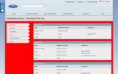 Screenshot of Hours Page columbiafordinc.com - Dealership Hours at Columbia Ford, Inc. - Your Columbia, Connecticut Ford dealer - captured April 24, 2016