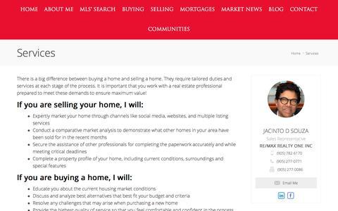 Screenshot of Services Page quickcondo.com - Services | Jacinto D  039 Souza Real Estate - captured July 25, 2018