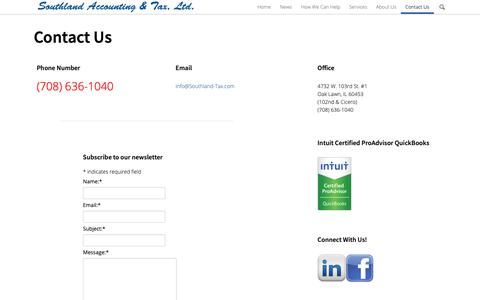 Screenshot of Contact Page southland-tax.com - Contact Us | Southland Accounting & Tax - captured Oct. 19, 2018