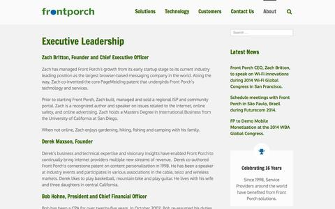 Screenshot of Team Page frontporch.com - In-Browser Notifications by Front Porch  –  Network Based Messaging for Cable, Telco, Mobile, and Wi-Fi Broadband Networks, Hotspot 2.0 Passpoint Branding Monetization   –  Management - captured Oct. 6, 2014