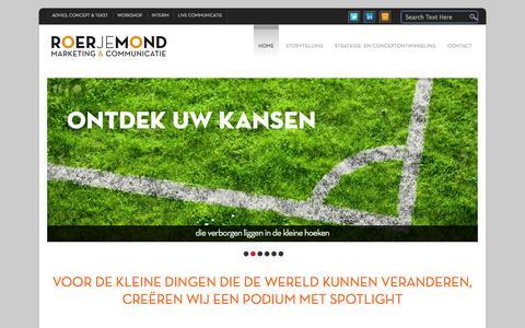 Screenshot of Home Page roerjemond.com - Spraakmakend in communicatie, concept & strategie voor marketing vraagstukken - captured Sept. 30, 2014