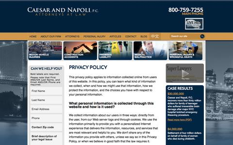 Screenshot of Privacy Page caesarnapoli.com - Privacy Policy | Caesar and Napoli, P.C. | New York - captured Oct. 1, 2014