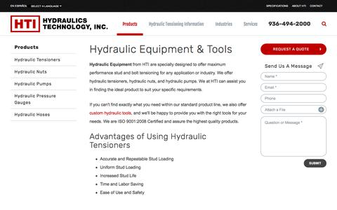 Screenshot of Products Page htico.com - Hydraulic Tensioning Equipment - Bolt Tensioning Tools | Hydraulics Technology, Inc. - captured Sept. 20, 2017