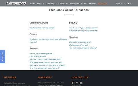 Screenshot of FAQ Page legendarchery.com - Frequently Asked Questions - Legend Archery - captured July 14, 2018