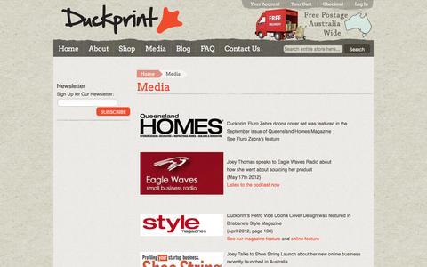 Screenshot of Press Page duckprint.com.au - Media - captured Feb. 9, 2016