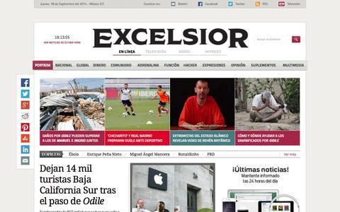 Screenshot of Home Page excelsior.com.mx - Excélsior | El periódico de la vida nacional - captured Sept. 19, 2014