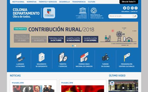 Screenshot of Home Page colonia.gub.uy - Intendencia de Colonia - captured Oct. 22, 2018