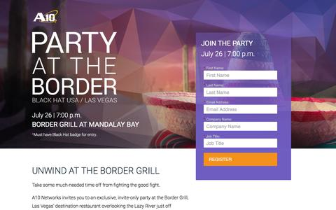 Screenshot of Landing Page a10networks.com - Party at the Border - captured Sept. 2, 2017