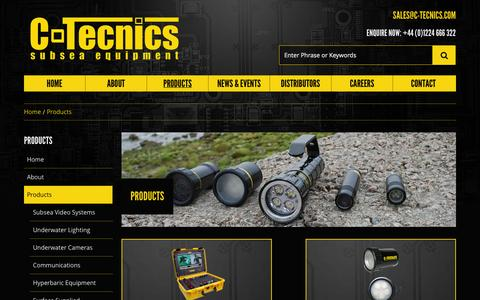 Screenshot of Products Page c-tecnics.com - Products - C-Tecnics - Subsea Equipment and Electronics - captured Sept. 26, 2014