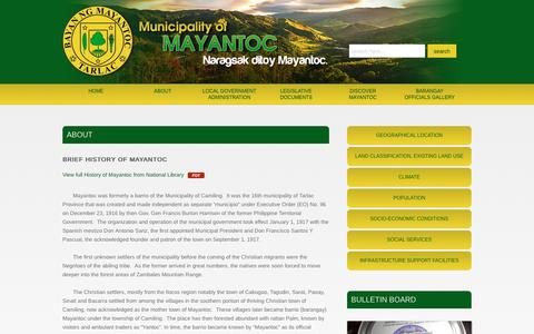 Screenshot of About Page mayantoc.gov.ph - Municipality of Mayantoc - ABOUT - captured June 16, 2016