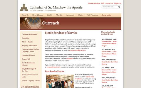 Screenshot of stmatthewscathedral.org - Single Servings of Service   Cathedral of St. Matthew the Apostle in Washington - captured Feb. 1, 2017