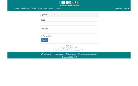 Screenshot of Login Page idoimaging.com - I Do Imaging - captured May 25, 2017