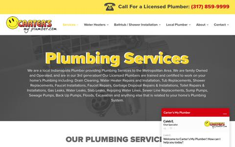 Screenshot of Services Page cartersmyplumber.com - Plumbing Services Indianapolis & Greenwood, IN | Carter's My Plumber - captured Sept. 27, 2018