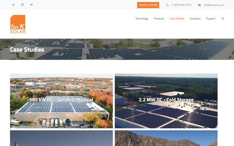 Screenshot of Case Studies Page tenksolar.com - Case Studies – Ten K Solar | Commercial Solar | Simply More Energy - captured May 9, 2017