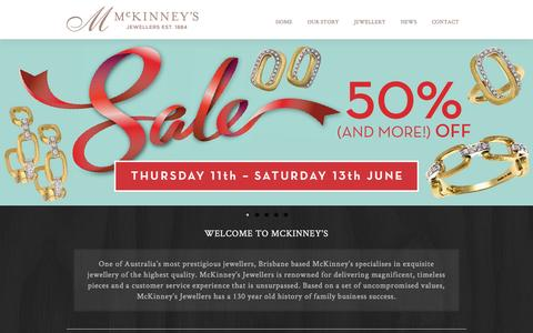 Screenshot of Home Page mckinneys.com.au - McKinney's - Discover Brisbane's Finest Jewellery - captured Sept. 25, 2015