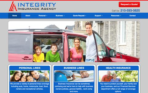 Screenshot of Home Page integrityins.com - Health, Workers Compensation, Home, Business, Bonds Insurance in San Antonio Texas - Integrity Insurance Agency, Inc. - captured Oct. 12, 2018