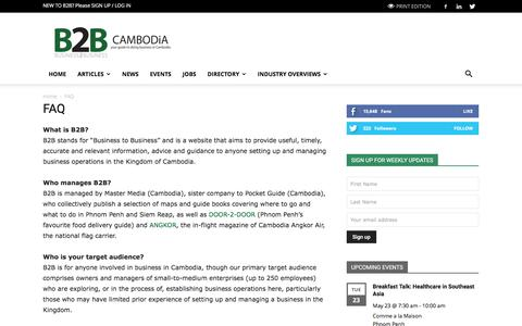 Screenshot of FAQ Page b2b-cambodia.com - FAQ Frequently Asked Questions | B2B CAMBODiA - captured May 23, 2017