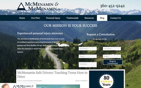 Screenshot of Blog mcmenaminlaw.com - Blog | Personal Injury | Construction Injury | Port Angeles, WA - captured Nov. 28, 2016