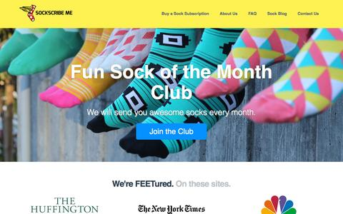 Screenshot of Home Page sockscribe.me - Sock of the Month Club by Sockscribe Me - captured Dec. 2, 2015