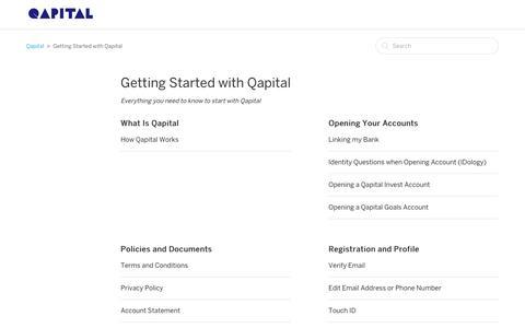 Screenshot of Support Page qapital.com - Getting Started with Qapital  – Qapital - captured Dec. 7, 2018