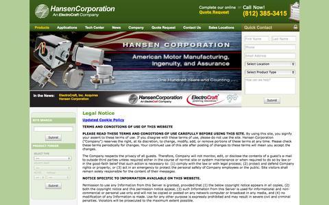 Screenshot of Privacy Page hansen-motor.com - Hansen Corporation Legal Notice - captured Oct. 2, 2014