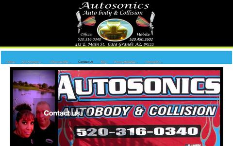 Screenshot of Contact Page autosonicsautobody.com - Contact Us - captured Oct. 4, 2014