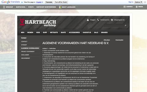 Screenshot of Terms Page hartbeach.nl - Algemene Voorwaarden - Contact  - Hartbeach - captured Oct. 2, 2014