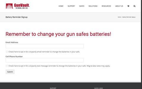 Screenshot of Signup Page gunvault.com - Get Reminded to Change Your Safes Battery | GunVault - captured July 25, 2018