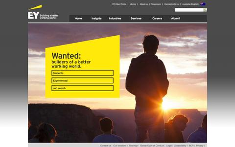 Screenshot of Jobs Page ey.com - Careers Home - EY - Australia - captured Dec. 20, 2016