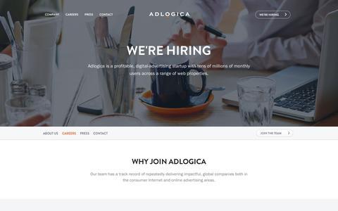 Screenshot of Jobs Page adlogica.com - We're hiring - captured Feb. 5, 2016