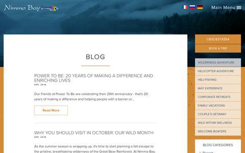 Screenshot of Blog nimmobay.com - Blog - Nimmo Bay Resort BC - captured Oct. 18, 2018