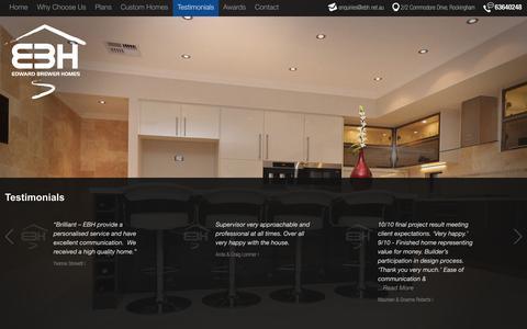 Screenshot of Testimonials Page edwardbrewerhomes.com.au - Customer Testimonials - Edward Brewer Homes - captured Sept. 22, 2014