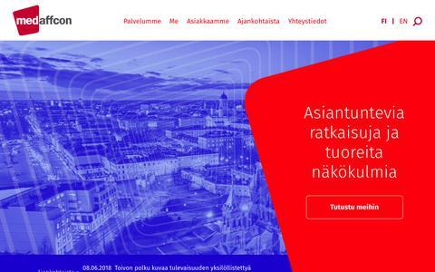 Screenshot of Home Page medaffcon.fi - Medaffcon: RWE, RWP, RSA, P&R, Health economic modelling » Medaffcon - captured Dec. 8, 2018