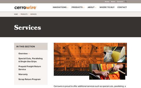 Screenshot of Services Page cerrowire.com - Services - CerroWire - captured Sept. 27, 2018