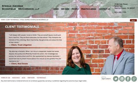Screenshot of Testimonials Page sgsmlaw.com - Client Testimonials | Steele, George, Schofield & McCormick, LLP - captured Feb. 16, 2016