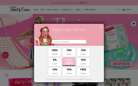Screenshot of Home Page makeuperaser.com - The Original MakeUp Eraser - captured July 27, 2018