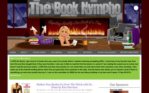 Screenshot of Home Page thebooknympho.com - The Book Nympho | Rejecting Reality One Book at a Time - captured Sept. 19, 2014