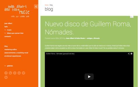 Screenshot of Blog joanalbertandkakomusic.com - blog - Estudio de grabación en BarcelonaEstudio de grabación en Barcelona - captured Oct. 23, 2014