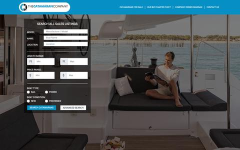 Screenshot of Home Page catamarans.com - Catamarans For Sale New and Used. Sailing Vacations in BVI - captured Nov. 14, 2018